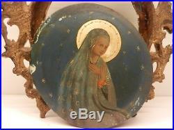 Antique 18-19th C Italian Religious Oil Painting of Madonna / Florentine Frame