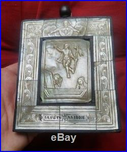 Antique 1800's Religious Carved Mother-of-Pearl Shell Plaque Icon Jesus Rising