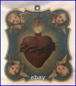 Antique 1800s Italian RELIGIOUS ANGEL SACRED HEART PAINTING on Metal Plaque 13T