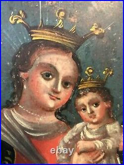 Antique 1800s Our Lady Refuge of Sinners Mexican Tin Retablo 8.75 x 12