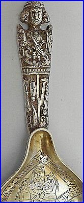 Antique 1874s Denmark Silver Baptismal, Paten Bigger withReligious Engravings Spoon