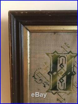 Antique 1890's Victorian Punch Paper Religious Sampler Framed He Leadeth Me
