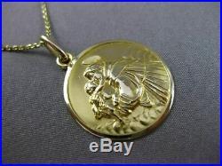 Antique 18k Yellow Gold 3d Saint Anthony Religious Pendant & Chain #24031