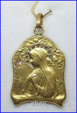 Antique 18kt Gold French Hallmarked Religious Medal With Diamonds