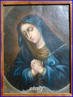 Antique 18th C Spanish Colonial Painting Retablo on Copper Tin Virgen Dolorosa