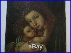 Antique 18th Century Old Master Painting Portrait Cusco Rare Icon Rare Madonna
