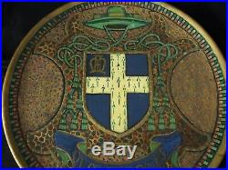 Antique 1900 French Religious Coat of Arms Charger Bishop Seal Terracotta Plaque