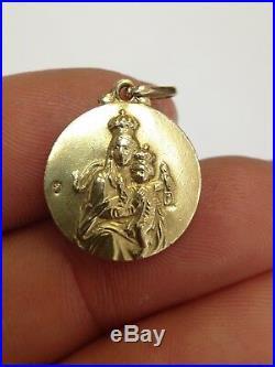 Antique 1920s Art Deco Era French Religious Madonna and Jesus Medallion Pendant