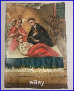 Antique 19c Mexican Tin Retablo Painting San Camilo de Lelis withDevil + Angel