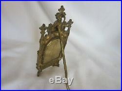Antique 19th C. Madonna & Child Porcelain Icon On Brass/ Bronze Triptych
