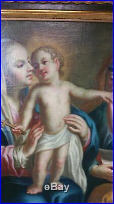 Antique 19th C Original Oil on Canvas Religious Painting