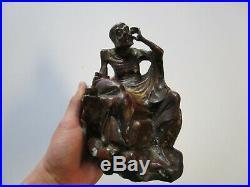 Antique 19th Century Buddhist Monk Bronze Metal Sculpture Fine Old Chinese Asian
