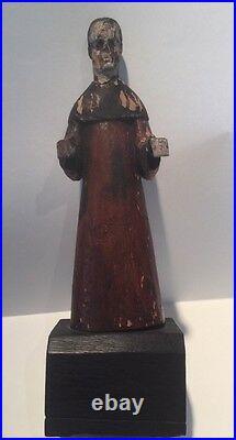 Antique 19th Century Carved Wood Large 9 1/2 Santos Figure Religious