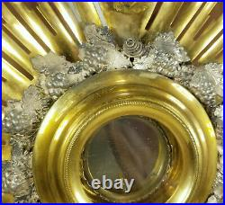 Antique 19th Century Gilt Brass and Silver Monstrance Religious Icon Reliquary