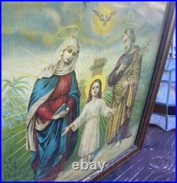 Antique 19th Century La Sagrada Familia/The Holy Family Framed Print 23X19