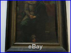 Antique 19th Century Old Master Painting Portrait Icon Madonna Retablo Metal