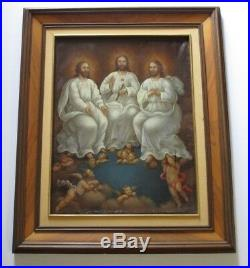 Antique 19th Century Or Older Icon Painting Surreal Religious Saint Christ Old