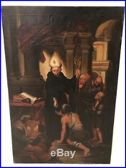 Antique 19th Century Religious Catholic Large Oil Painting Allegory Vatican a