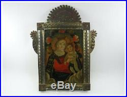 Antique 19th century Mexican Retablo painting on tin religious Mary & Christ