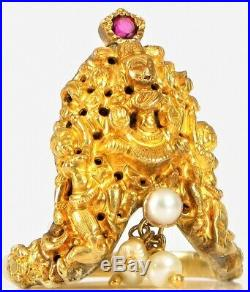 Antique 22k Or 24k Yellow Gold Buddha Ring Sothorn Religious Dangle Pearl Ruby