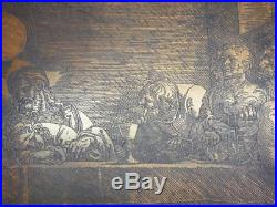 Antique Albrecht Durer copper print plate engraving renaissance the last supper