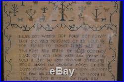 Antique American Schoolgirl Sampler Adam & Eve Snake 1822 Ann Davies Religious
