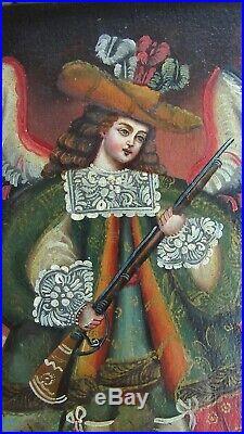 Antique Archangel Uriel Cusco Colonial Painting Peru Christian Spanish