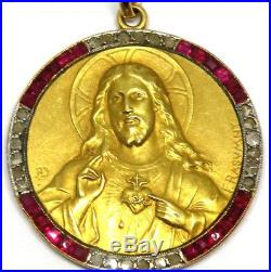 Antique Art Deco 18K Gold With Diamonds and Rubies Signed Religious Pendant