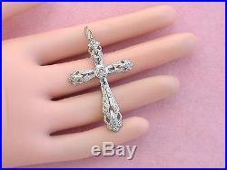 Antique Art Deco Diamond Sapphire Platinum Religious 1.75 Cross Pendant 1930
