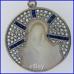 Antique Art Deco Religious PendantPlatinum+18k Gold PendantRose Cut Diamonds