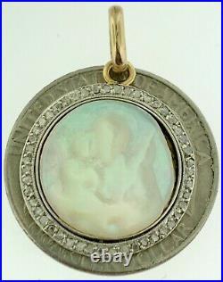 Antique Art Deco Religious PendantPlatinum+18k GoldRose Cut DiamondsMary+Baby