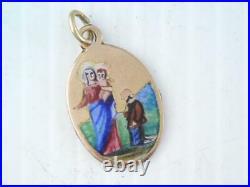 Antique Art Nouveau 10k Gold Religious Mary & Baby Jesus Charm Or Pendant