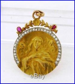 Antique Art Nouveau 18k Yellow Gold Religious Pendant Rubies Diamonds