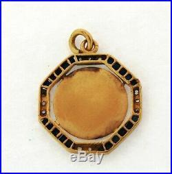 Antique Art Nouveau French Religious Pendant Sapphires Diamonds 18K Yellow Gold