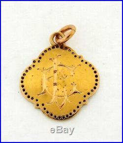 Antique Art Nouveau Religious Diamonds Platinum Virgin Mary Pendant
