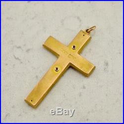 Antique Australian 9ct yellow gold Sapphire & Seed Pearl crucifix cross pendant