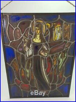 Antique Belgian Stained Glass Window Panel Holy Mary Religious Scene Purgatory