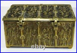 Antique Bronze Ecclesiastical Casket Medieval Religious Church ChestOld Gothic