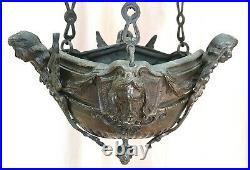 Antique Bronze Gothic Church Chandelier Hanging Sanctuary Religious Angels Jesus