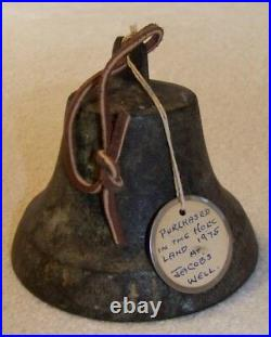 Antique Bronze Religious Bell from Palestine Jacob's Well 4-3/4 X 3-1/2 PATINA