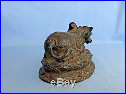 Antique Bronze Statue Religious Bull Of Nandi Figure Mount Of Shiva Temple Art