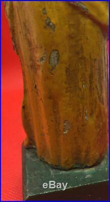 Antique Carved Wood Polychrome Religious Saint Santos Joseph Baby Jesus Figure