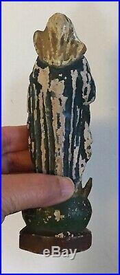 Antique Carved Wood Santos Saint Church Religious Figure Mary & Jesus 18th 19 c