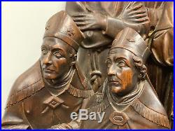 Antique Carved Wood religious Bishops Monks Pope Statues Figures Ecclesiastical