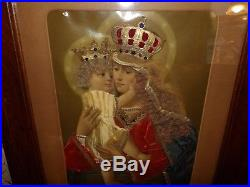 Antique Catholic religious Saint Anne 3D framed picture real hair