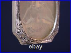Antique Deco Platinum Diamonds Mother Pearl Heart Jesus Religious Medal Pendant
