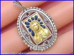 Antique Diamond Blue Plique-a-jour Praying Virgin Mary Religious Pendant 1920