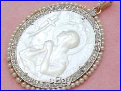 Antique Diamond Mother Pearl Mary Magdalene Religious Pendant 1910 Argentina