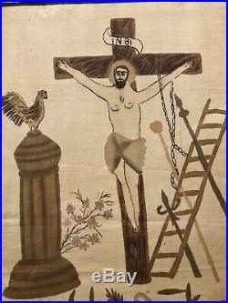 Antique Early 20c Crucifixion Jesus Christ Religious Primitive Folk Art Painting