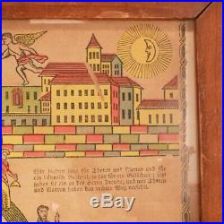 Antique Early American Path to Heaven Religious Broadside c. 1830s AAFA